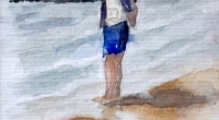 Aquarelle-plage-contemplation