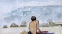 Aquarelle-plage-assise