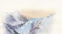 aquarelle-glacier-argentiere-hiver