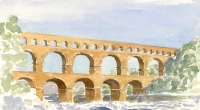 Aquarelle-Pont-du-Gard